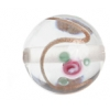 Glass Lamp Bead 14mm Round Crystal/Rose